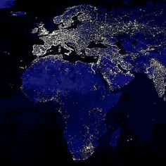 Amazing Europe and beautiful Africa by night.