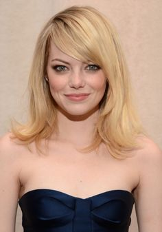 Haircut Long Medium Length Hair Cuts For Women | Emma Stone Hairstyles 2013: Layered Medium Blonde Hairstyle with Bangs