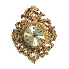 Vintage Burwood Wall Decor Clock Mid Century Hollywood Regency