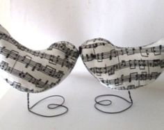 This offering is for a beautiful Pr. of Antique Music Fabric Love Birds, perfect for a wedding cake topper any occasion cake toppers, nursery décor, favors, music lovers gift, decorations, ornaments, etc.  The stand approx. 4 inches tall , and have a wire heart stand that I make now.  Please email if you have any questions prior to placing your order as all sales are final.  International Buyers please convo for your shipping fee.  Paypal payment required immediately or item will be…