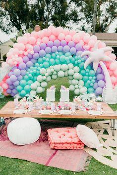 """Twin Palms"" rainbow pastel birthday for twins Taytum & Oakley Layer Cakelet) Twin Birthday Parties, Rainbow Birthday Party, Summer Birthday, 1st Birthday Girls, Twin Birthday Cakes, Girl Birthday Party Themes, Birthday Ideas, Mexican Birthday, Picnic Birthday"