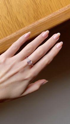 Rose Gold Wedding Jewelry, Rose Gold Engagement Ring, Oval Nails, Nude Nails, Light Pink Nails, Rose Gold Morganite Ring, Minimalist Nails, French Tip Nails, Nail Art Hacks