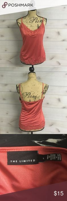 LACE TRIM Tank Top Lace trim tank top size L. Coral color, excellent condition, comes from a smoke free home. Thank you for looking Angel The Limited Tops Tank Tops