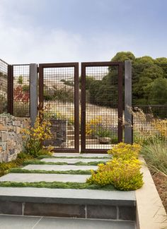 Chic beachstyle san francisco bay landscape is oak woodland with stone walkway, angiozanthos bush gem. Concrete pavers landscape with metal gate, deer resistant with stone wall. Stone stairs landscape collection of stone pathway with cable gate paired Deer Fence, Metal Fence, Hog Wire Fence, Metal Gates, Chicken Wire Fence, Concrete Pavers, Rusted Metal, Contemporary Landscape, Landscape Design