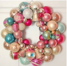 ornament wreath, plastic ornaments, pastel ornament wreath, how to make an ornament wreath, diy, crafts, Christmas crafts, studio 5,