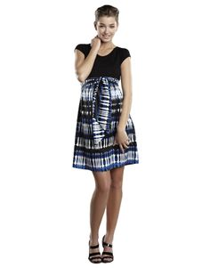 Maternal America Scoop Neck Front Tie Blue & Black Bubbles Dress  #maternity #fashion #pregnancy #style #minefornine