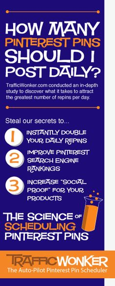 Want to know how many pins you should post to Pinterest every day to attract the greatest number of repins? Click to steal our secrets. (Pinterest Marketing and Pin Scheduling)