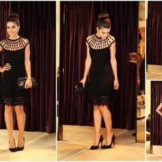 Belle robe en crochet noire courte