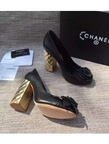bd2a7d62be11 Chanel Calfskin Pumps with 100mm Quilted Heel Black Paris-Salzburg 2014 2015