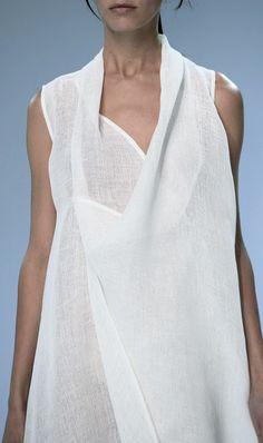 Porsche Design | Spring 2015 white draped dress #minimalist #fashion #style