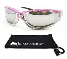fa8be566f4 Chrome and Pink Frame Anti Glare Mirrored Motorcycle Sunglasses with  Rhinestones Foam Padded for Women