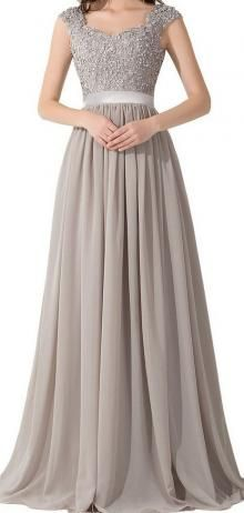 Grey tone with embroidered top complete this modest a-line floor length long prom dress. Cap sleeve lace bodice enforced by sheer ribbon at waist, ethereal chiffon flows into floor length skirt with draped detail, illusion back.
