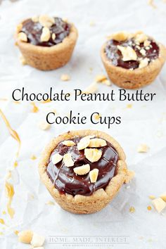 This Chocolate Peanut Butter Cookie Cups recipe is quick and easy to make. Chocolate chip cookie filled with peanut butter and topped with chocolate makes these little bites of heaven.