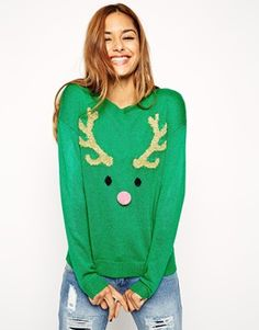 Enlarge ASOS Christmas Jumper With Reindeer Face And Pom Pom
