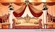 The most important and attractive part of any Indian wedding is its center stage. This stage gets maximum attention. Here are some of the best stage decoration ideas for Indian weddings Flow… Wedding Stage Decorations, Wedding Stage Backdrop, Wedding Stage Design, Engagement Decorations, Wedding Mandap, Backdrop Decorations, Wedding Venues, Wedding Reception, Stage Backdrops