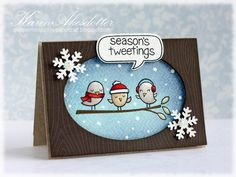 card christmas winter - Lawn fawn Winter sparrows Seasons´s tweeting #wintersparrows - snowflake woodgrain stamp - Peppermint Patty's Papercraft