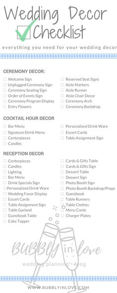 Wedding Decor Checklist | Wedding Decor | Ceremony Decor | Reception Decor | Cocktail Hour Decor | Wedding