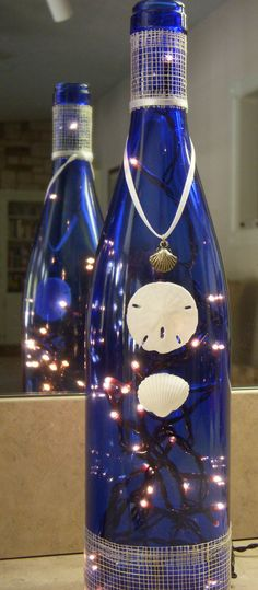 Recycled Midnight Blue Wine Bottle Lamp with Sand by EcoArtbyNancy, $27.00