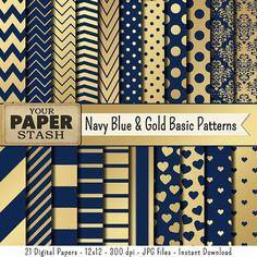 Navy Blue & Gold Digital Paper Blue Gold by YourPaperStash on Etsy