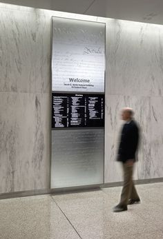screen and signage combo - General Services Administration, Javits Federal Building Signage Environmental Graphic Design, Environmental Graphics, Wayfinding Signage, Signage Design, Changi Business Park, Directory Signs, General Services Administration, Sign System, Reception Design