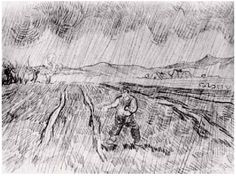 Vincent van Gogh Enclosed Field with a Sower in the Rain Drawing