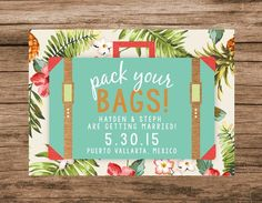Tropical Save the Date, Destination Wedding Invite, Pack Your Bags Suitcase