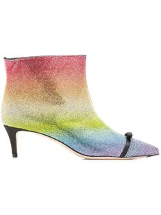 Multicoloured calf leather rainbow rhinestone embellished boots from Marco De Vincenzo featuring a pointed toe, a side zip fastening, a kitten heel, a kitten heel and a satin bow on the front. Black Ankle Boots, Leather Ankle Boots, Calf Leather, Rainbow Shoes, Satin Bows, Calves, Kitten Heels, Women Wear, Fashion Design
