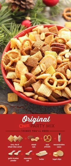 Original Chex Party Mix has always been homemade favorite and is the perfect start to any holiday occasion. Ready to serve to all of your guests in just 15 minutes, this classic recipe is an instant hit for everyone.