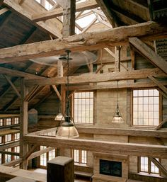 The Brown Road Barn in Westchester County, New York, makes full display of its exposed structural timber.