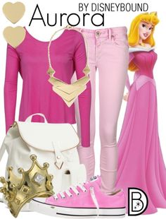 Even a princess wants to be casual sometimes.  You will be pretty in pink in this Aurora inspired outfit   Disney Fashion   Disney Fashion Outfits   Disney Outfits   Disney Outfits Ideas   Disneybound Outfits   Disney Princess Outfit  