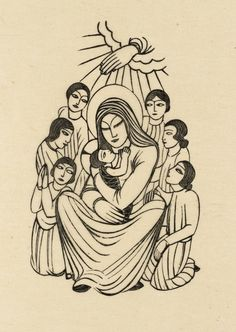 Eric Gill, 'Madonna and Child, with Children' 1925