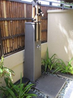 Bamboo inspired outdoor shower