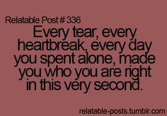 Every tear, every heartbreak, every day you spent alone, made you who you are right in this very second.