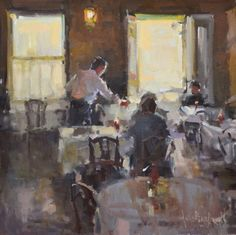 """Table Manners"" Anne Blair Brown 20"" x 20"" Oil"