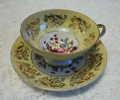 Vintage Royal Sealy China Floral Teacup and Saucer Gold Trim