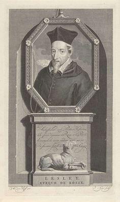 Pieter van Gunst | Portret van bisschop John Lesley, Pieter van Gunst, c. 1669 - 1731 | John Lesley, bisschop van Ross en voorvechter van Maria Stuart. Onder het portret een hond met een sleutel. De prent heeft als onderschrift een Frans gedicht over zijn leven.