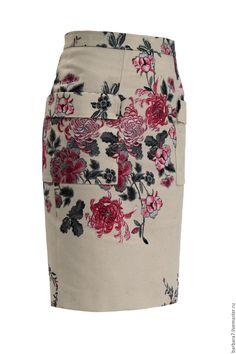 Летняя юбка-карандаш с цветочным рисунком