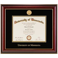 The diploma frame that comes in every college.