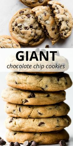 These GIANT chocolate chip cookies are soft and chewy with crispy edges and tons of chocolate! Recipe yields 6 big chocolate chip cookies. sallysbakingaddiction.com Köstliche Desserts, Delicious Desserts, Dessert Recipes, Yummy Food, Healthy Food, Bakery Recipes, Cookie Recipes, Big Cookie Recipe, Chocolate Recipes