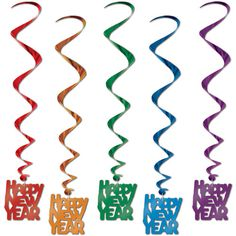 Beistle Assorted Color Happy New Year Whirls, 5 Per Package This item is a great value! 5 per package New Years party item Hanging Decs - Whirls for festive occasions High Quality Happy New Year Message, Happy New Year Quotes, Matching Christmas Sweaters, New Years Decorations, Hanging Decorations, Nye Party, Party Fun, New Year Celebration, Party Items