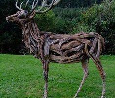 Driftwood Sculpture, Art Sculpture, Outdoor Sculpture, Driftwood Art, Animal Sculptures, Outdoor Art, Ribbon Sculpture, Metal Sculptures, Abstract Sculpture