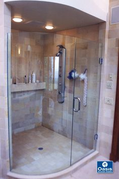 Frameless shower door features curved fixed panel and wall mount hinges. Walk In Shower Enclosures, Frameless Shower Enclosures, Frameless Shower Doors, Glass Shower Doors, Open Showers, Shower Tile Designs, Shower Pan, Bathroom Renovations, Bathroom Inspiration