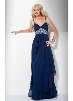 Affordable Floor-length Chiffon A-line Spaghetti Straps Sleeveless Prom Dresses - Wedding Dresses