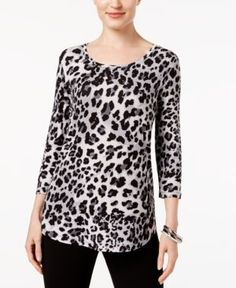 Jm Collection Petite Leopard-Print 3/4-Sleeve Top, Created for Macy's - Gray P/XL