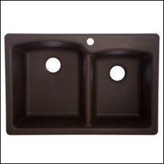 "FrankeUSA EO33229-1 Ellipse 22"" Double Basin Undermount Granite Composite Kitche Mocha Fixture Kitchen Sink Granite"