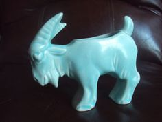 Vintage Original McCoy Pottery Aqua Green Stretch Figural Goat Planter HTF | eBay