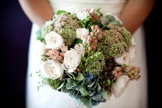 Beautiful Bridal Bouquet in blues, greens and white