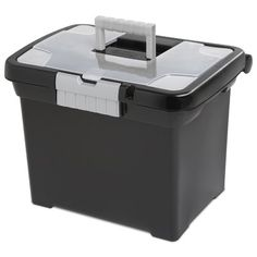 Sterilite 18719004 Portable File Box, Black with Clear Storage Lid and Titanium Handle and Latch, Outside Dimensions: 15 x x Includes 4 File Boxes Made in the USA Fits letter-sized hanging file folders Accepts small padlock File Box Organization, File Organiser, Organizers, Business Organization, Lid Storage, Storage Boxes, Garage Storage, Storage Cabinets, Kitchen Storage