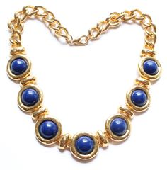 Vintage Large Gold Tone & Dark Blue Heavy Link Chunky Necklace 103 Grams by paststore on Etsy
