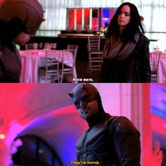 Nice ears. They're horns. Jessica and Daredevil Defenders Netflix season 1 #jessicajones #krystenritter #defenders #defend #marvel #netflix